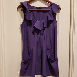 Daniel Rainn purple tunic tops sleeveless pockets